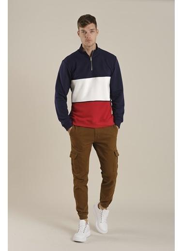 Oksit Louis Teor Yarım Fermuarlı Panelli Polar Sweatshirt Lacivert